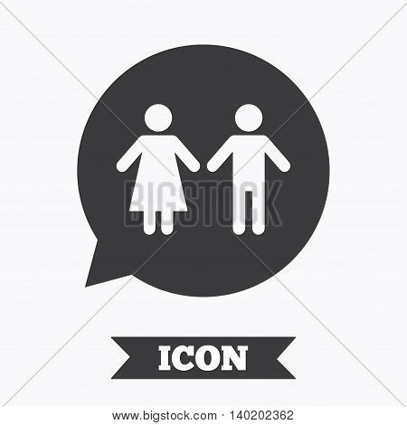 Toilet sign icon. Restroom or lavatory speech bubble symbol. Graphic design element. Flat toilet symbol on white background. Vector