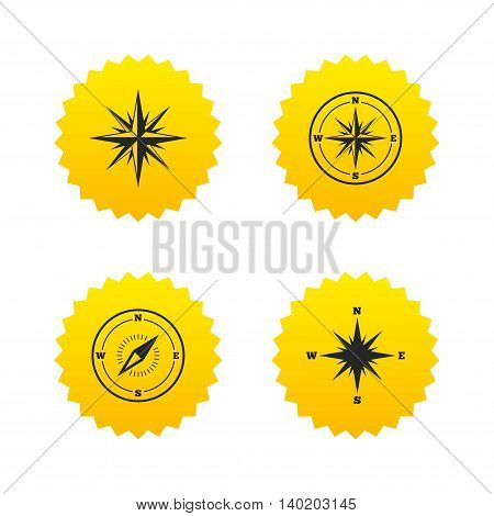 Windrose navigation icons. Compass symbols. Coordinate system sign. Yellow stars labels with flat icons. Vector