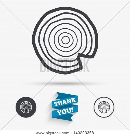 Wood sign icon. Tree growth rings. Tree trunk cross-section with nick. Flat icons. Buttons with icons. Thank you ribbon. Vector poster