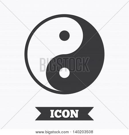 Ying yang sign icon. Harmony and balance symbol. Graphic design element. Flat ying yang symbol on white background. Vector