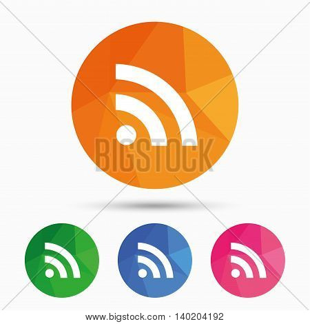 RSS sign icon. RSS feed symbol. Triangular low poly button with flat icon. Vector