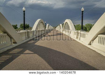Rainbow arch bridge over South Platte River in Fort Morgan, Colorado