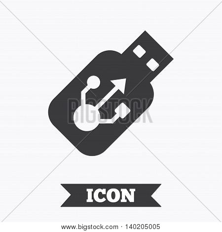 Usb sign icon. Usb flash drive stick symbol. Graphic design element. Flat usb symbol on white background. Vector