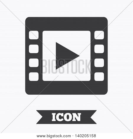 Video sign icon. Video frame symbol. Graphic design element. Flat video symbol on white background. Vector