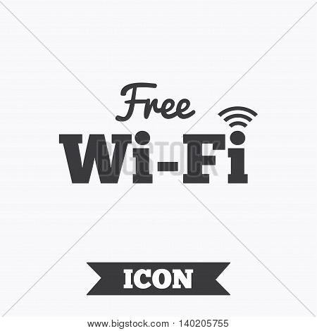 Free wifi sign. Wifi symbol. Wireless Network icon. Wifi zone. Graphic design element. Flat wifi symbol on white background. Vector