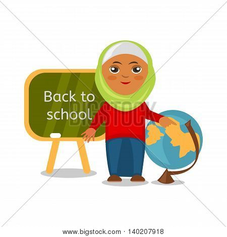 Cheerful Arab schoolgirl at a lesson of geography. Cartoon pupil isolated on white background, back to school. Vector eps 10 format.