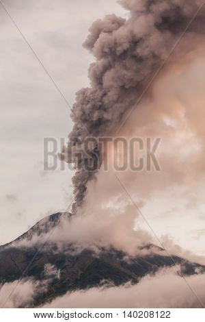 Smoke Rises From Tungurahua Volcano February 2016 Ecuador