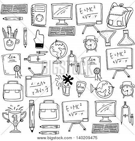 School education supplies doodles collection stock vector