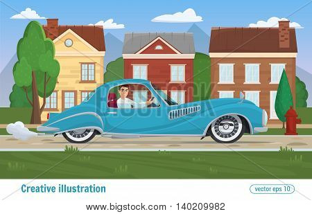 Successful Man Rides Through The City On Prestigious Car Business Class Blue. Vector Illustration Ca