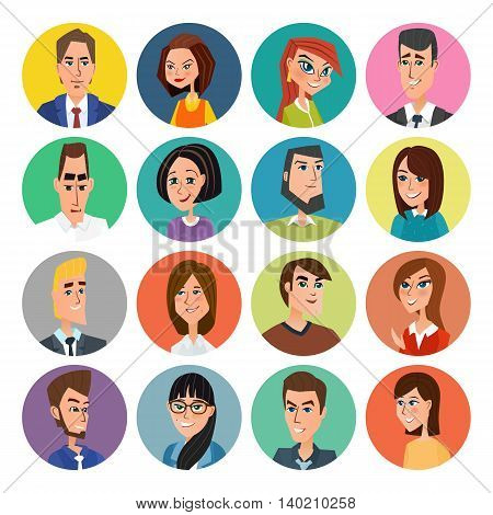 Cartoon Male And Female Faces Collection. Vector Collection Icon Set Of Colorful People Modern Flat