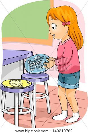 Illustration of a Little Girl Using a Seat Marker to Reserve a Seat