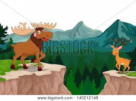 funny moose and deer cartoon with mountain cliff landscape background