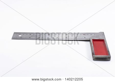 Machinist square tool isolated on white background.Household or equipment for handcraft.