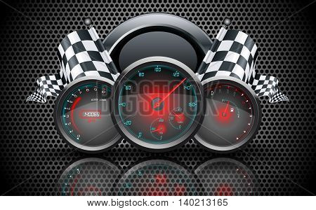 Speedometer, tachometer, temperature and fuel gauge on on metal perforated background