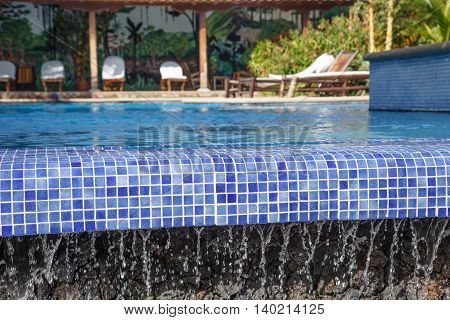 relaxing infinity pool view nobody. Vacation concept