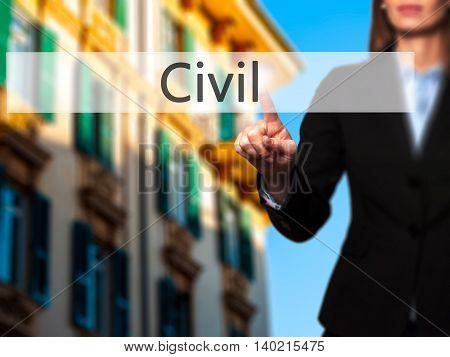 Civil - Businesswoman Pressing Modern  Buttons On A Virtual Screen