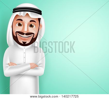 Saudi arab man vector character wearing thobe happy posing with blank space in the background for text contents. Vector illustration.
