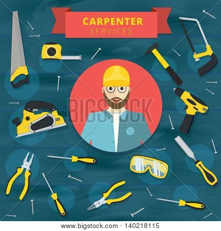Carpenter service vector concept design. Woodworker banner background with tools and equipment
