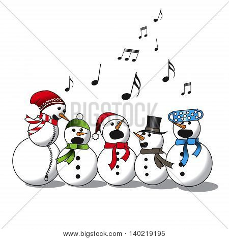 Snowman choir, christmas carol, vector image on white background