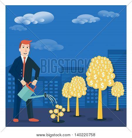 Businessman or broker watering golden tree offspring. Vector money-making or startup business concept design