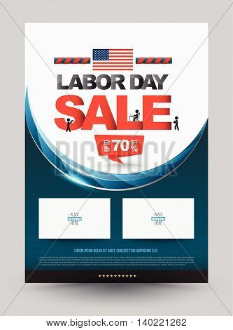 LABOR DAY SALE poster template. Vector illustration. Use for Labor day advertising promotion.