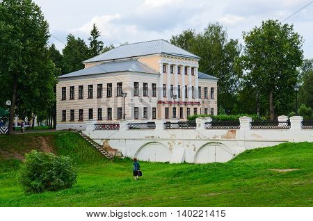 UGLICH RUSSIA - JULY 19 2016: Cathedral (St. Nicholas) bridge and house of governor or building of former City Duma in Uglich Russia