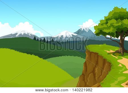 green tree with beauty mountain cliff landscape background