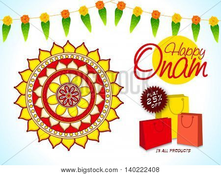 Creative Poster, Banner or Flyer design of Sale with Flat 25% Off, Illustration of beautiful rangoli for South Indian Famous Festival, Happy Onam celebration.