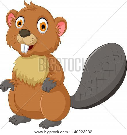 cute beaver cartoon posing for you design