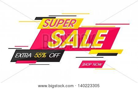 Super Sale with Extra 55% Off, Creative abstract Poster, Banner or Flyer design, Vector illustration.