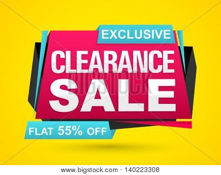 Exclusive Clearance Sale with Flat 55% Off, Creative Paper Tag or Banner design on yellow background.