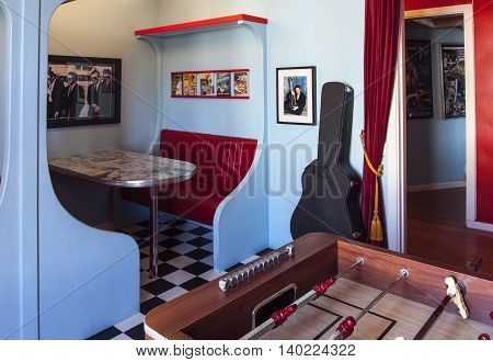SVEG, SWEDEN ON JULY 08. Interior view of the Café Cineast on July 08, 2016 in Sveg, Sweden. Room furnished in imaginative style, retro equipment from the film, movie world. Editorial use.