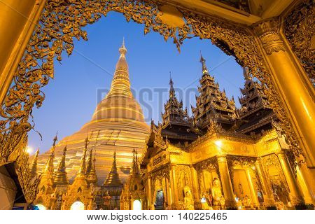 Beautiful Pagoda In The World. The Famous Pagoda In Myanmar. Night At Shwedagon Pagoda (shwedagon Pa
