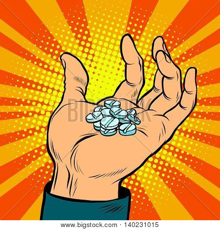 Medical pills in hand pop art retro comic book vector illustration. Sports doping and drugs