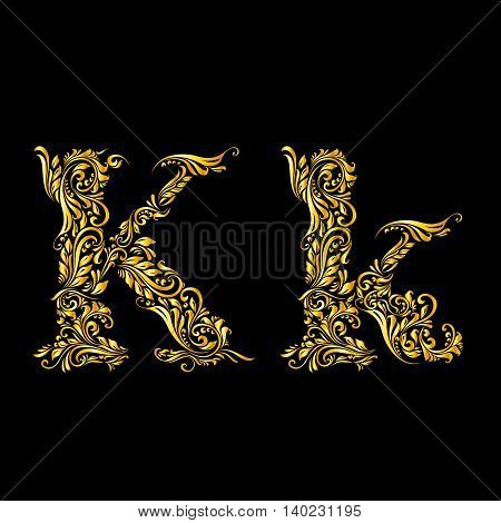Richly decorated gold letter 'k' in upper and lower case.