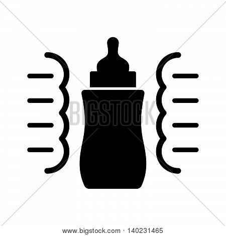 Steam sterilizer for a baby bottle, black on white