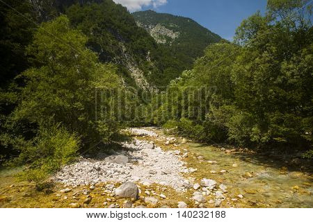 Soca / Isonzo river mear Bovec town in Slovenia