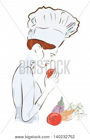 Chef woman with a hat. Illustration Set of a Cook with Carrots, Tomatoes and Eggplants