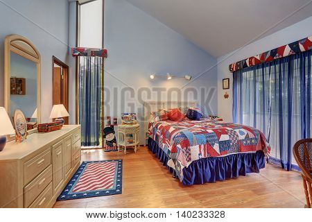 Red And Blue Interior Of Vaulted Ceiling Bedroom In American Style.