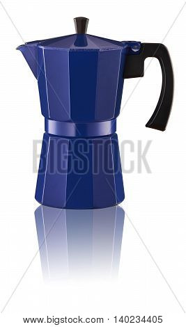 Studio shot of Blue percolator on white background with reflection