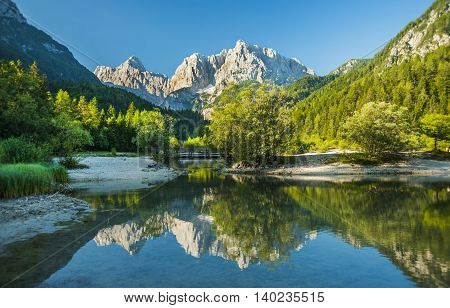 Jasna lake near Kranjska Gora town, Slovenia