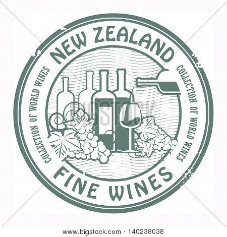 Grunge rubber stamp with words New Zealand, Fine Wines, vector illustration