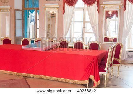 St. Petersburg, Russia-aprel 24 2016: Big Hall Lyceum In Pushkin.