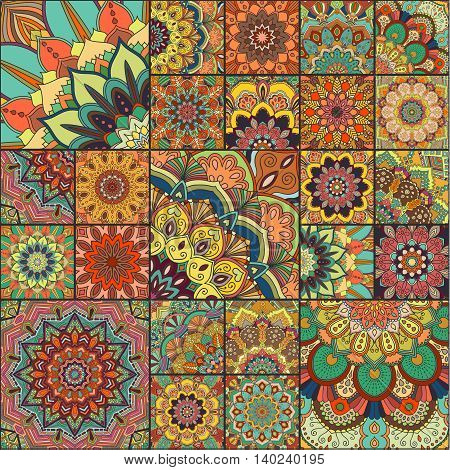 Boho tile set. Colorful patchwork for fabric print, furniture, wallpaper, fashionable textile. Square design elements. Unusual flower ornament. Vector oriental mandala background.