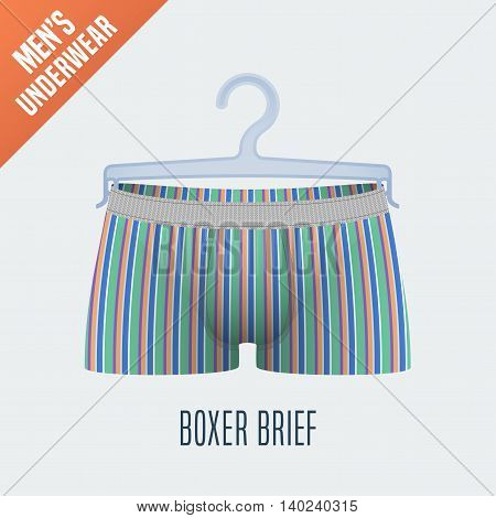 Men's underwear vector illustration. Men boxer brief boxers underwear model with stripes. Clothing detail design element on hanger