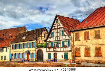 Traditional Alsatian houses in Molsheim - Bas-Rhin, France