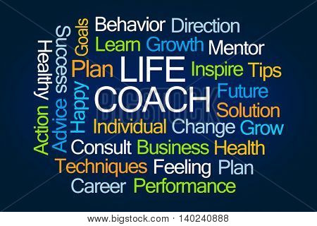 Life Coach Word Cloud on Blue Background