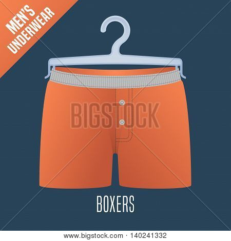 Men's underwear vector illustration. Clothing detail design element on hanger display for retail. Men boxers underwear model