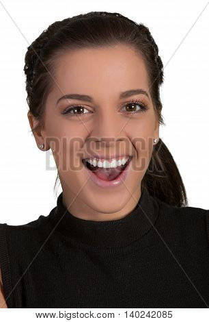Pretty young lady with happy smiling expression