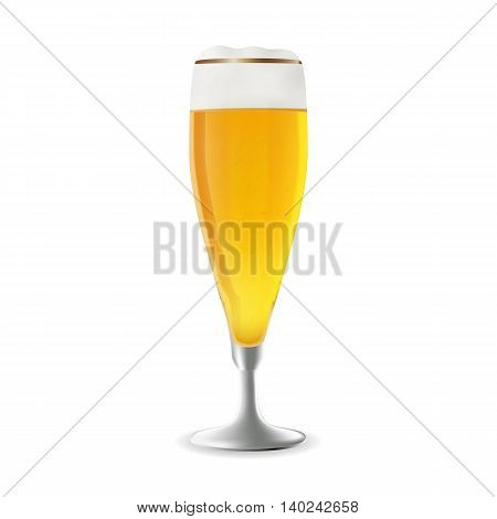 Vector illustration of a glass of beer. Realistic illustration of a beer glass. Vector beer in photorealism style. A glass of beer as a design element.